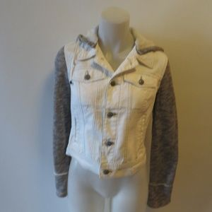WOMENS FREE PEOPLE WHITE & GREY DISTRESSED RIPPED